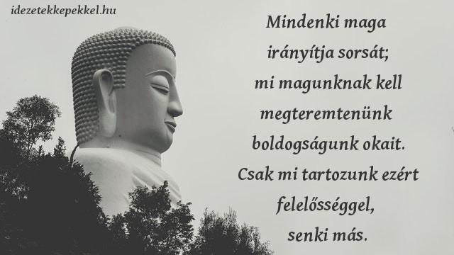 buddha idézet, Mindenki maga irányítja sorsát; mi magunknak kell megteremtenünk boldogságunk okait. Csak mi tartozunk ezért felelősséggel, senki más.
