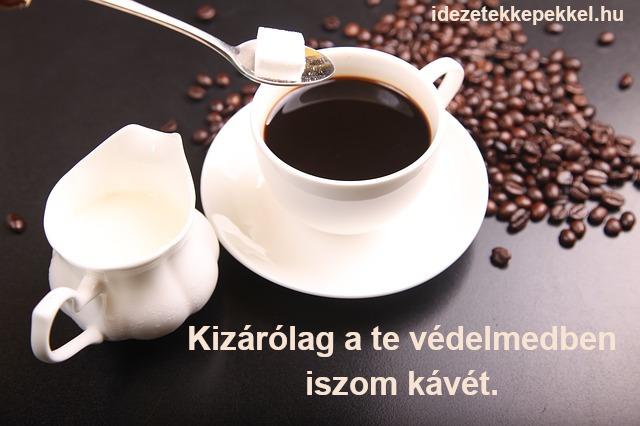 kávé idézet - Kizárólag a te védelmedben iszom kávét.
