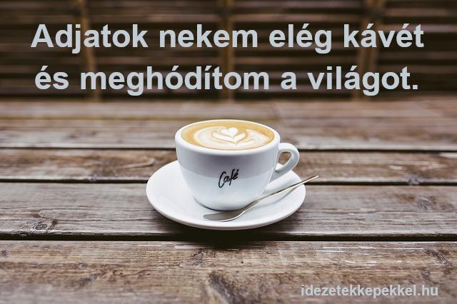 kávé idézet - Adjatok nekem elég kávét és meghódítom a világot.