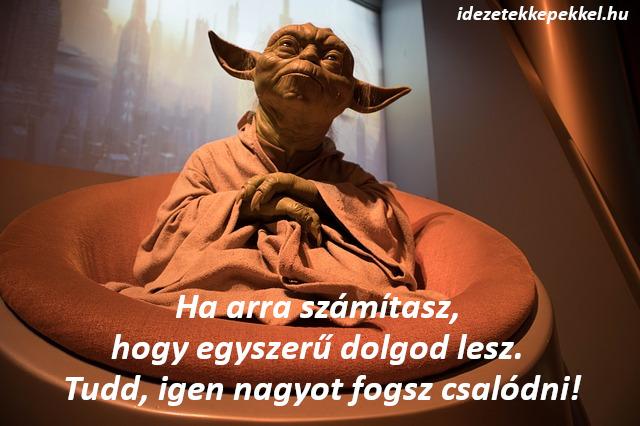 star wars, yoda idézet Ha arra számítasz, hogy egyszerű dolgod lesz. Tudd, igen nagyot fogsz csalódni!
