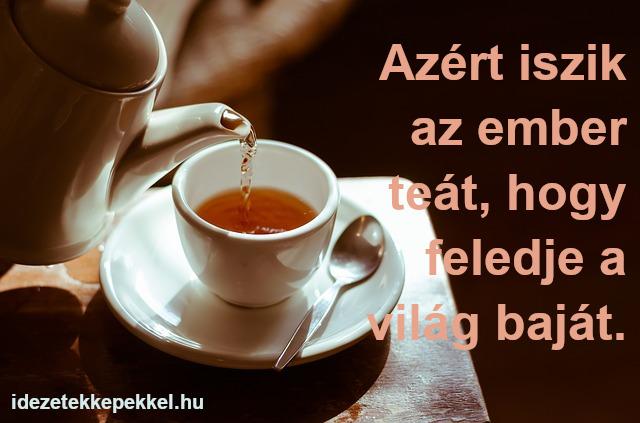 tea idézet, Azért iszik az ember teát, hogy feledje a világ baját.