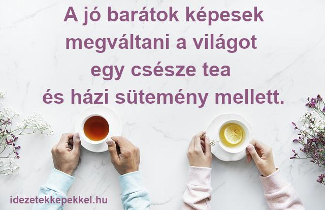 tea idézet - A jó barátok képesek megváltani a világot egy csésze tea és házi sütemény mellett.