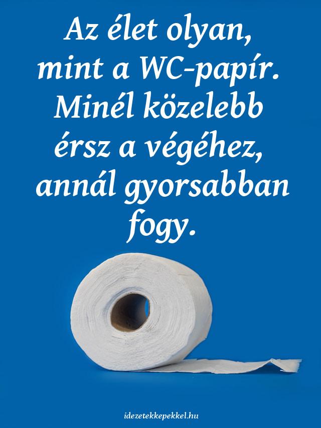 vicces idézet az életről, Az élet olyan, mint a WC-papír. Minél közelebb érsz a végéhez, annál gyorsabban fogy.