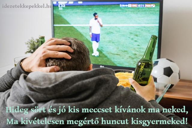 vicces apák napi idézet, sör, foci